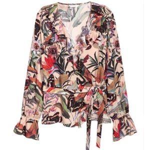 H&M Ruffle Floral Wrap Top